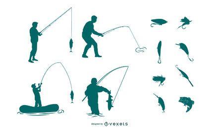 Pacote de silhuetas de pesca
