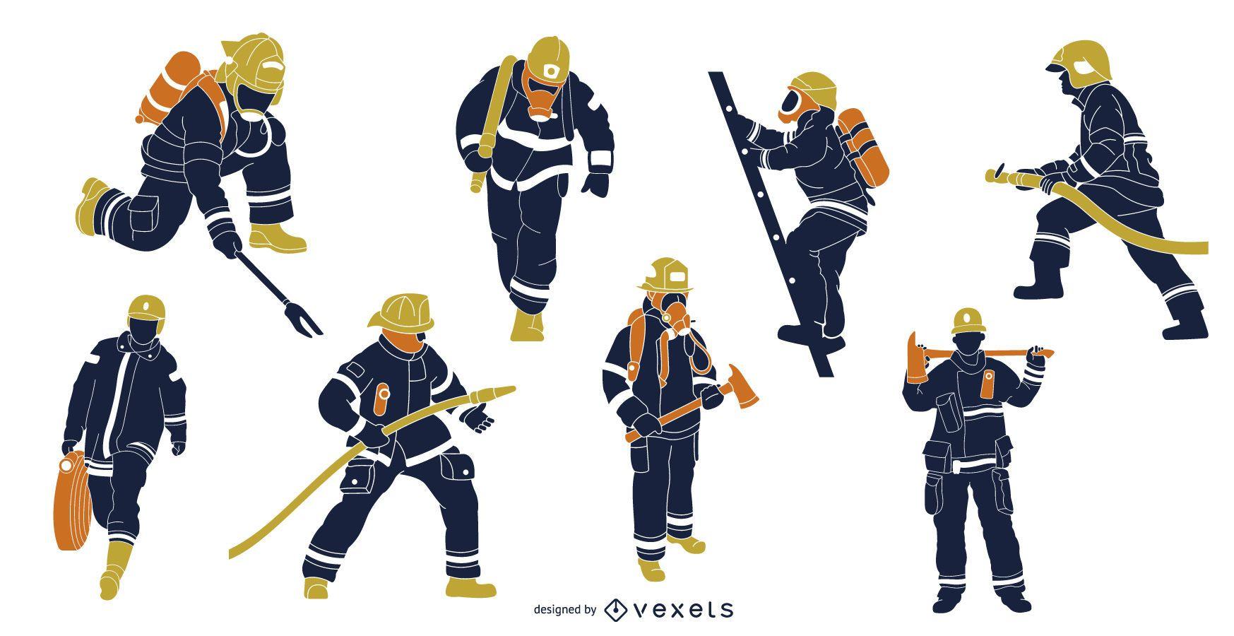 Pack de ilustración de bomberos planos