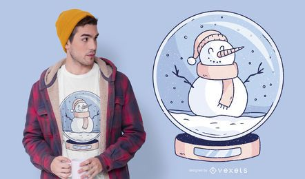 Design de camiseta do boneco de neve Snowglobe