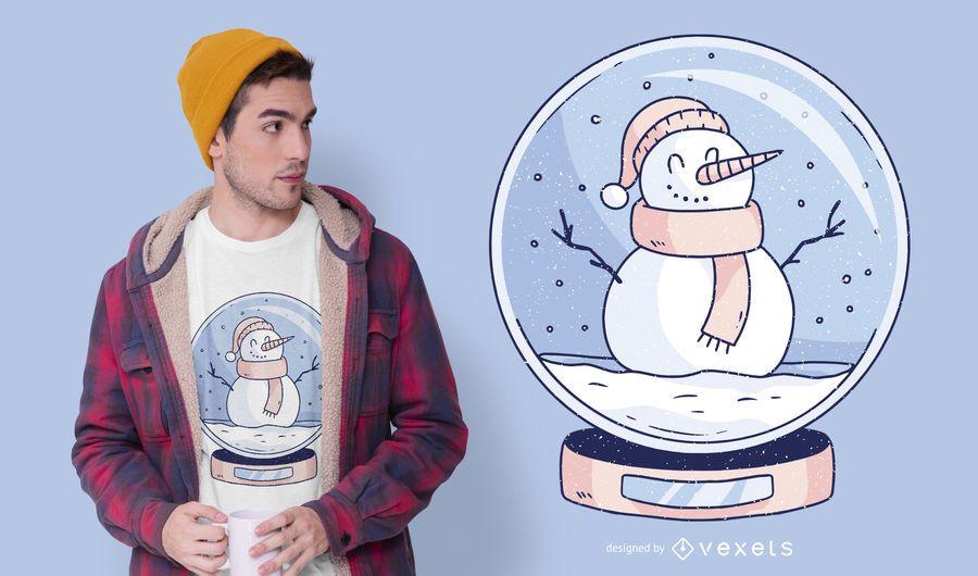 Design de t-shirt de boneco de neve Snowglobe