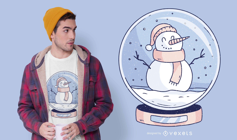 Snowglobe snowman t-shirt design