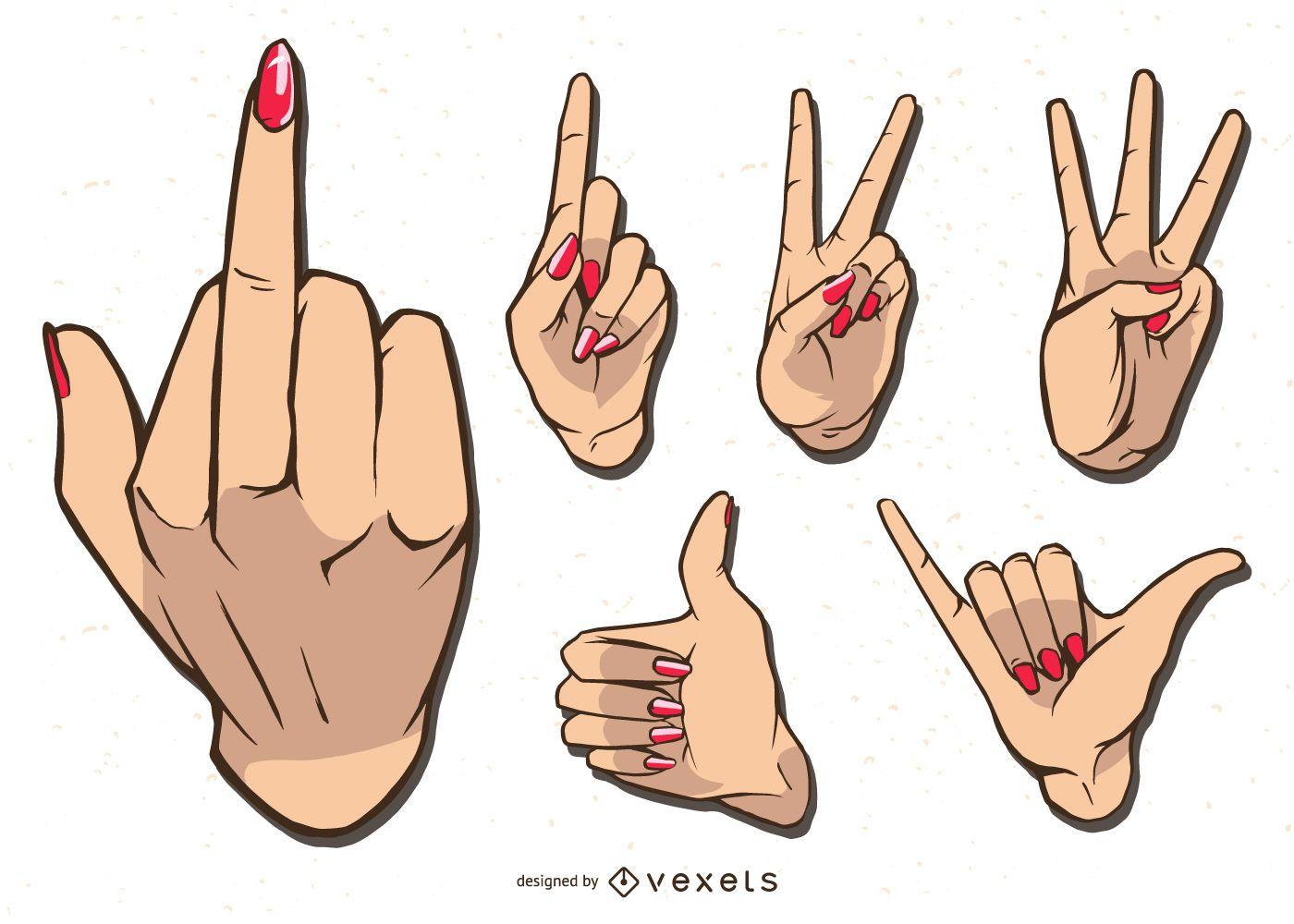 Conjunto de ilustración de manos de mujer