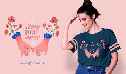 Design de t-shirt com mãos românticas