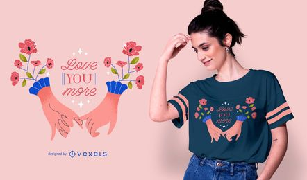 Diseño de camiseta de manos románticas