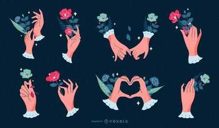 Conjunto de ilustración de manos románticas