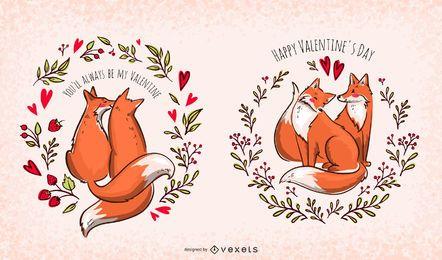 Conjunto de ilustração de raposas dos namorados