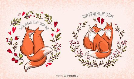 Valentine foxes illustration set