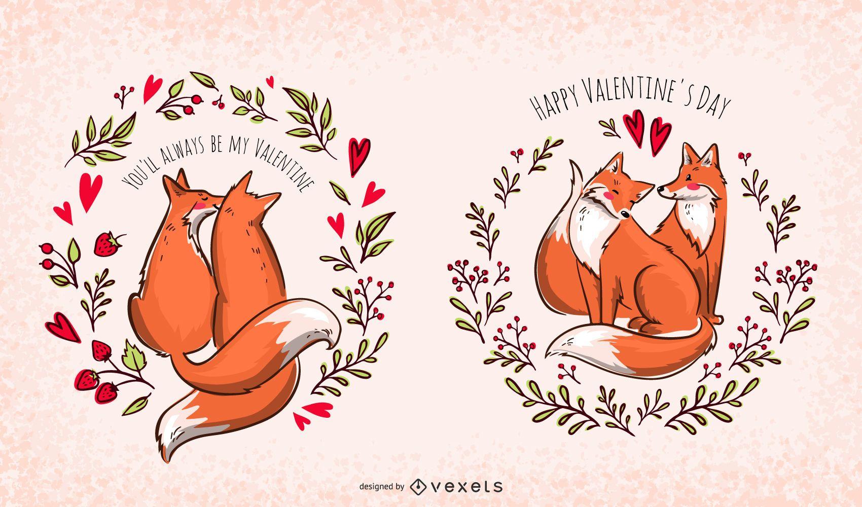 Valentine foxes illustration set