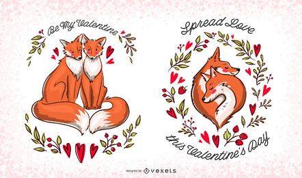 Valentine foxes editable set