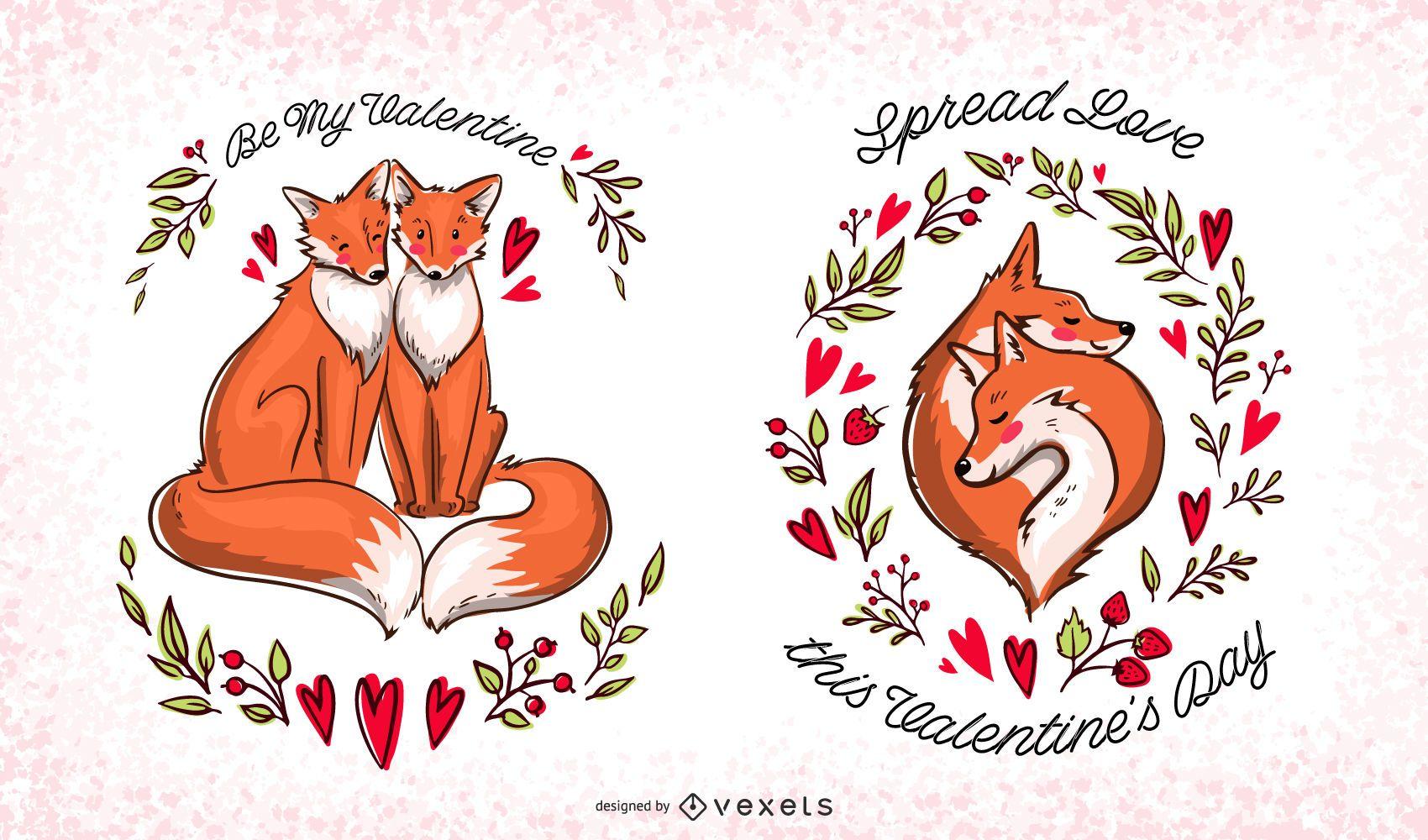 Valentine foxes editable set