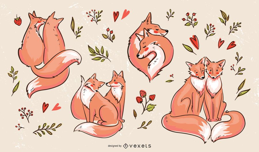 Valentines fox couples illustration set