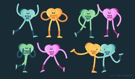 Conjunto de personajes de corazón de caramelo