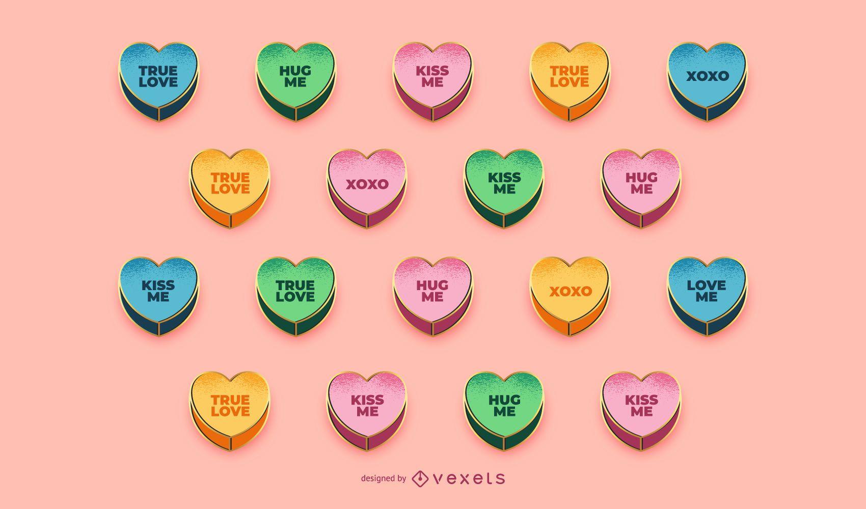 Conjunto de corações de doces do dia dos namorados