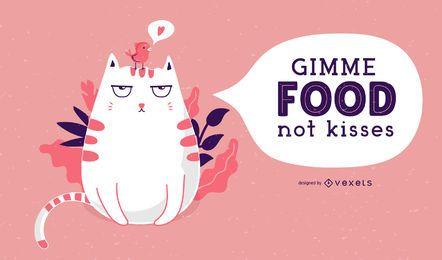 Ilustración de gato contra el día de San Valentín