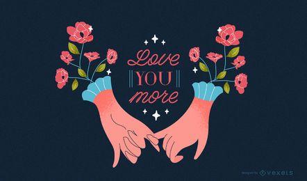 Ilustração de dia dos namorados de mãos românticas