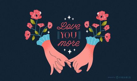 Romantic hands valentine's day illustration