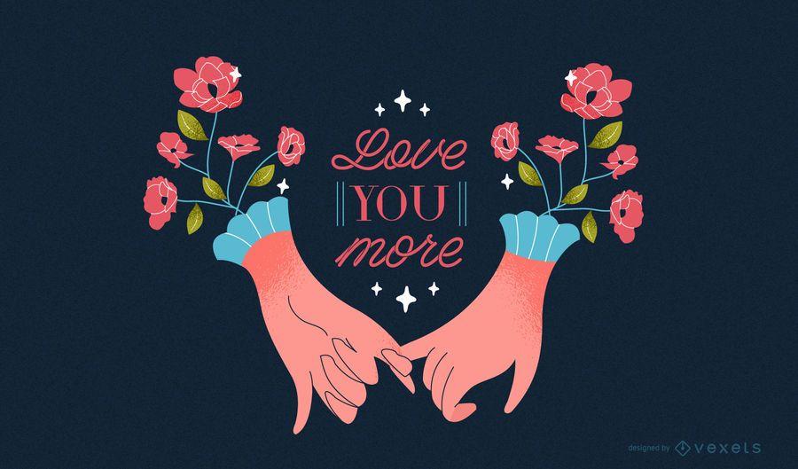 Ilustração de mãos românticas do dia dos namorados