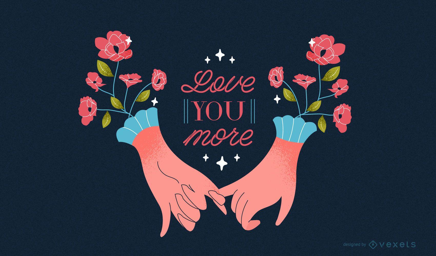 Ilustración de manos románticas de san valentín