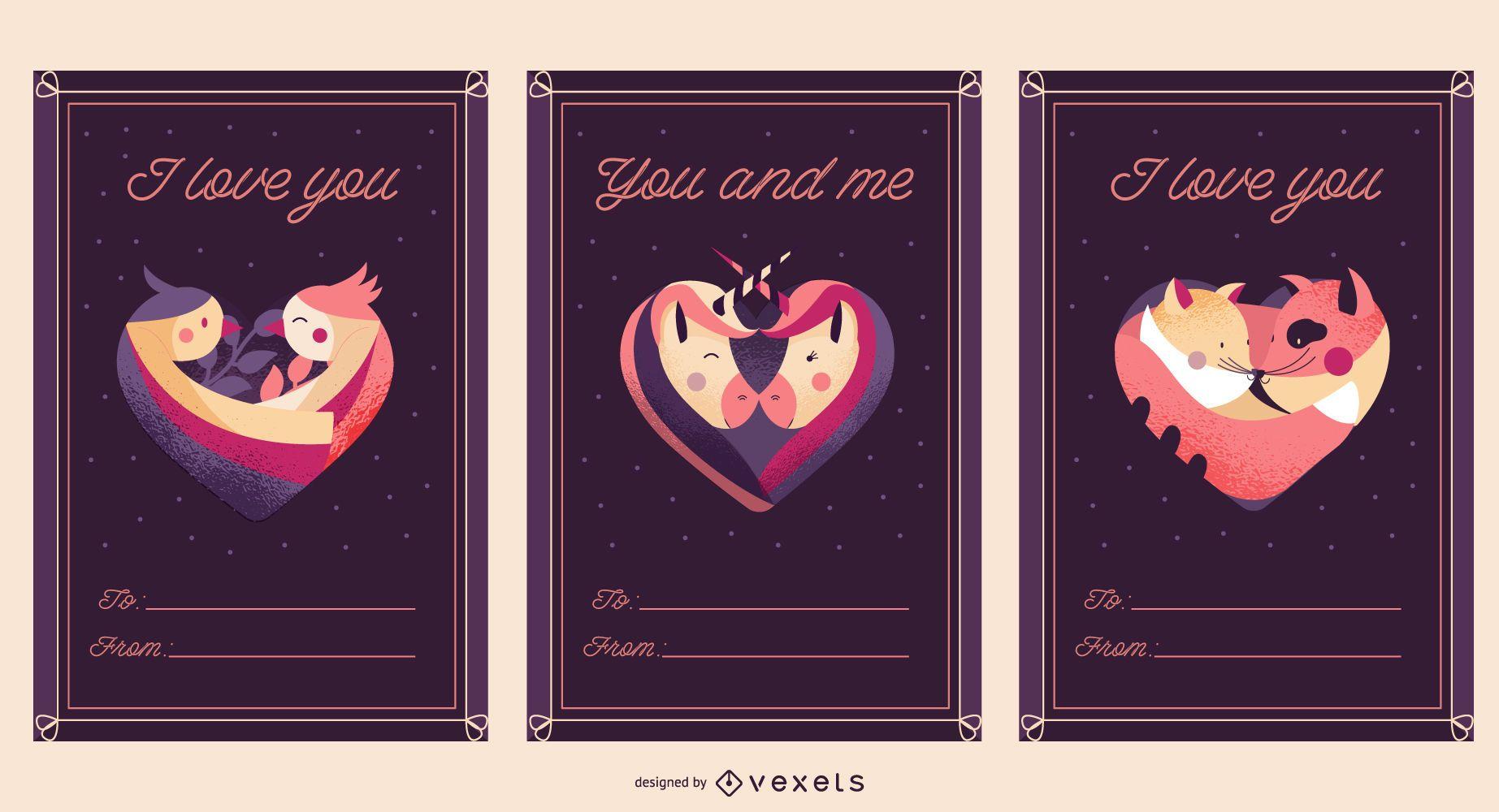 Modelo de cartão postal de amor para o dia dos namorados