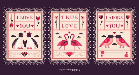 Conjunto de cartão postal de ilustração plana para namorados