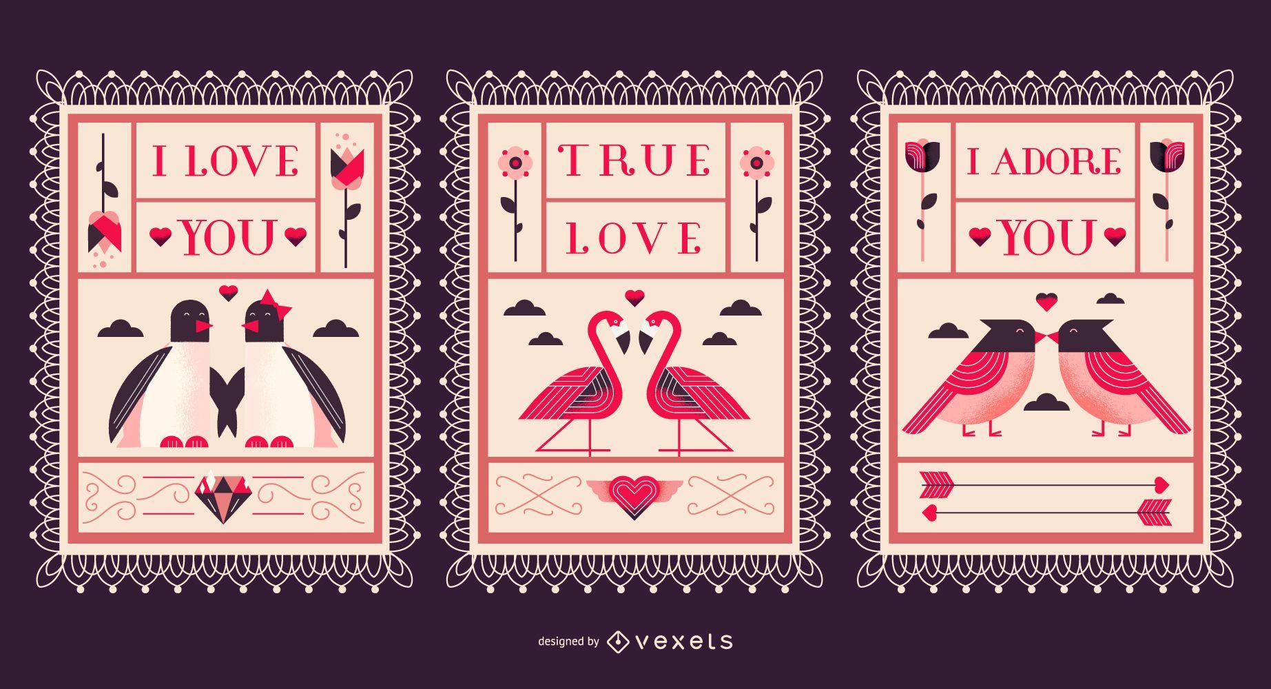Flat Illustration Valentine's Postcard Set
