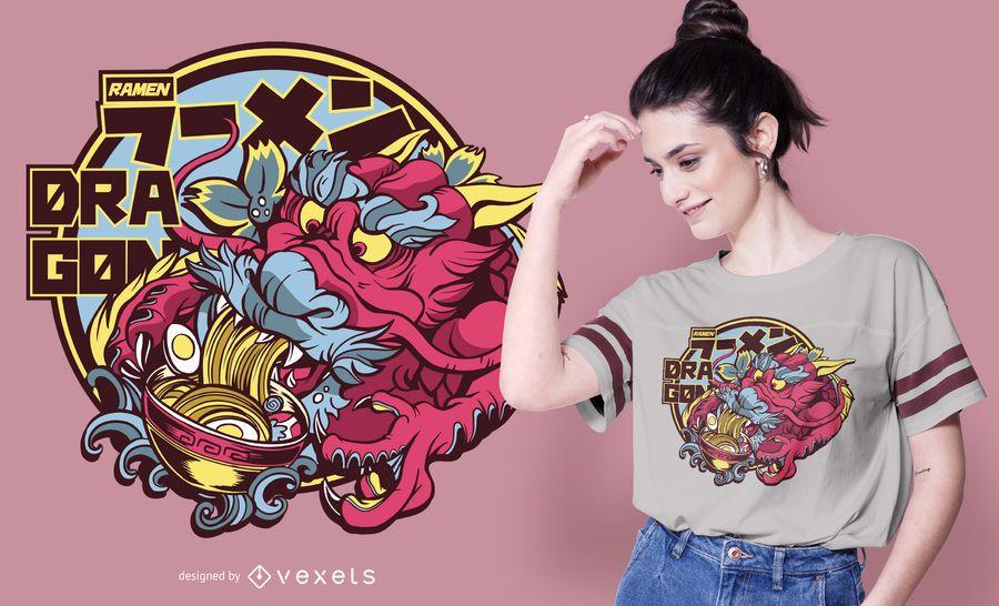 Design de t-shirt ramen dragão
