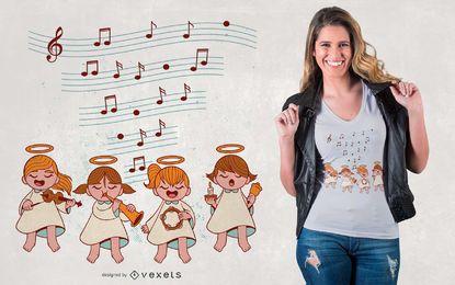 Design de t-shirt de música de anjos