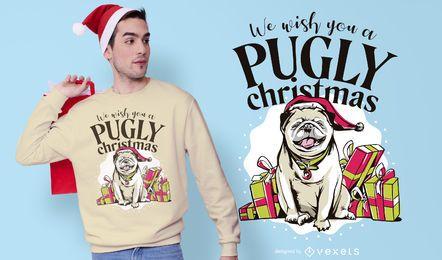 Diseño de camiseta navideña pugly