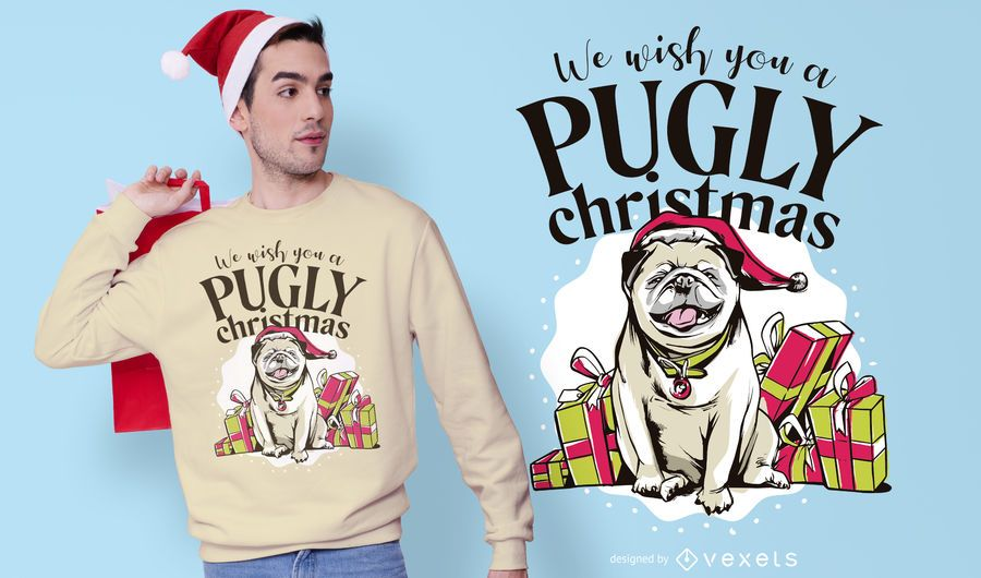 Pugly christmas t-shirt design