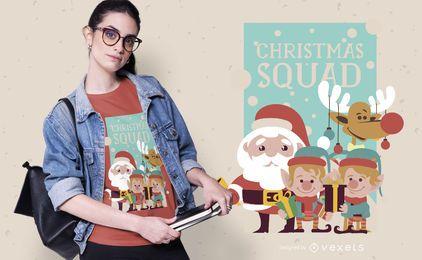 Diseño de camiseta de escuadrón navideño