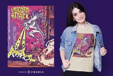 Diseño de camiseta de ataque de unicornio