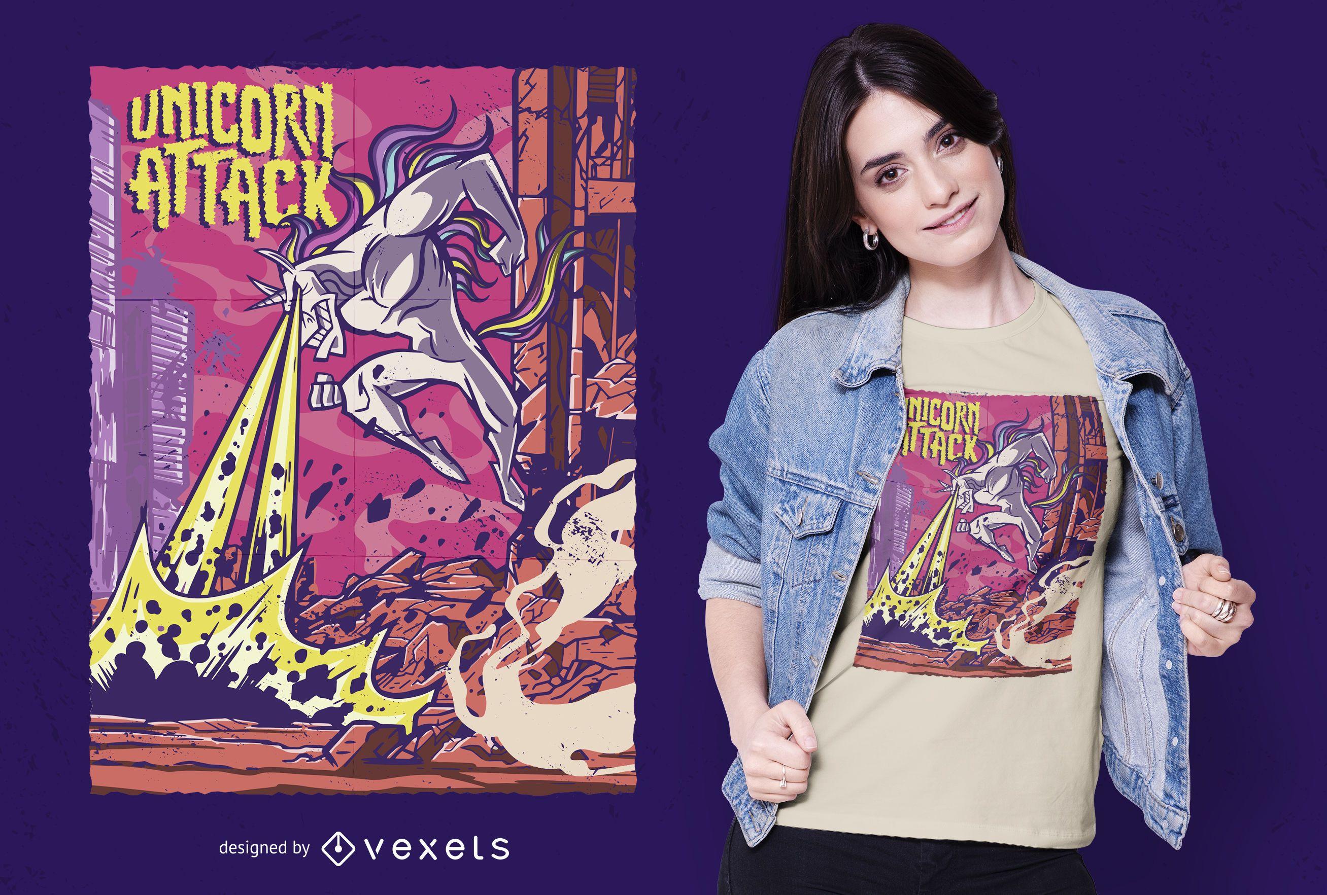 Diseño de camiseta de ataque de unicornio.