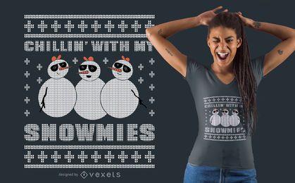 Diseño de camiseta escalofriante snowmies