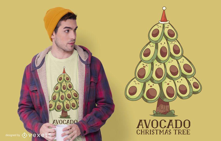 Diseño de camiseta de árbol de navidad de aguacate