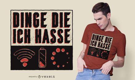Diseño de camiseta de cosas que odio
