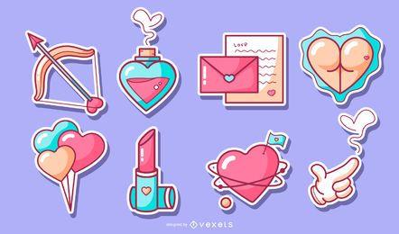 Set de pegatinas de San Valentín