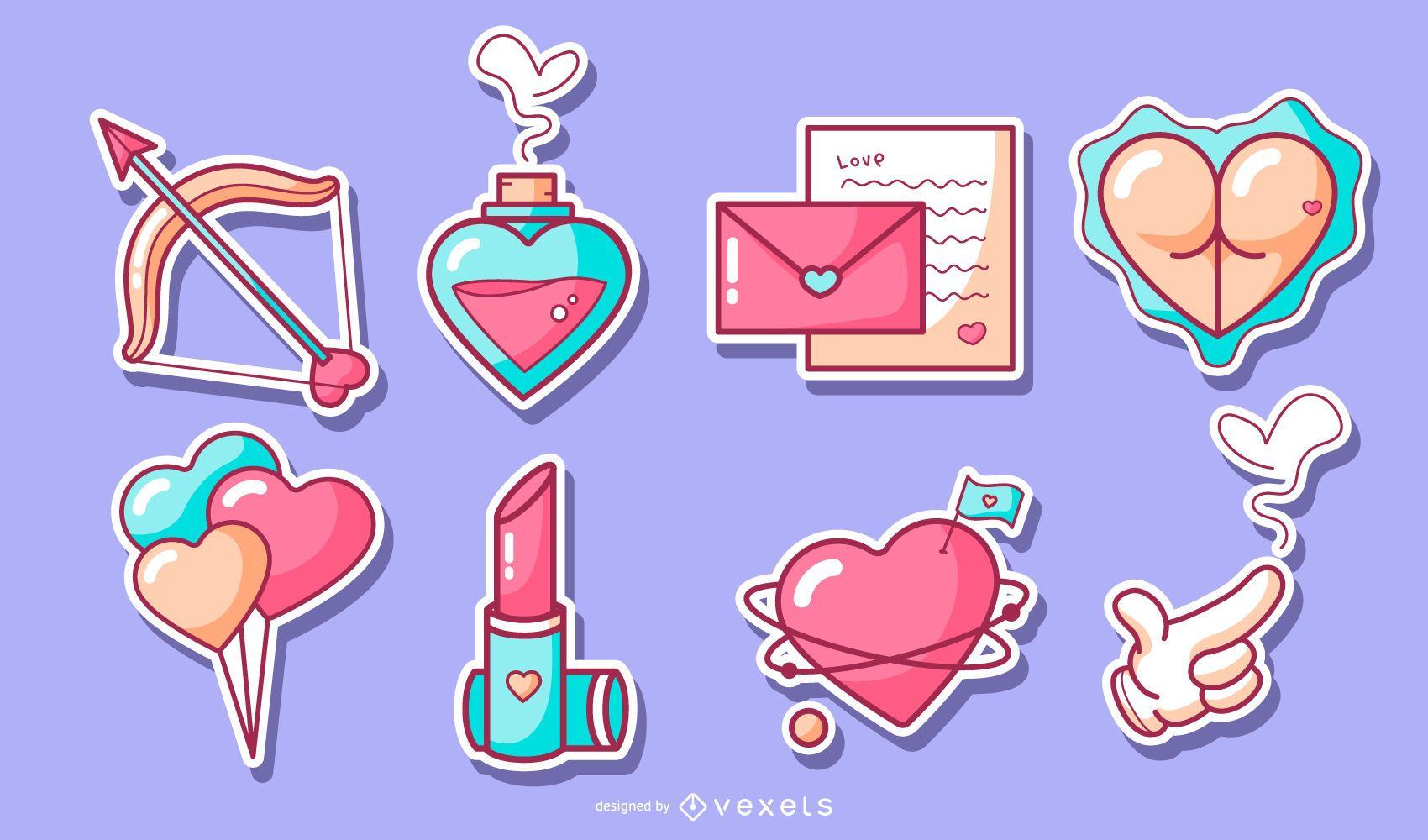 Valentine's day sticker set