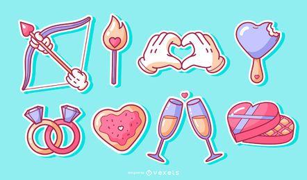 Conjunto de adesivos de elementos dia dos namorados