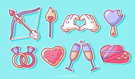 Valentines elements sticker set