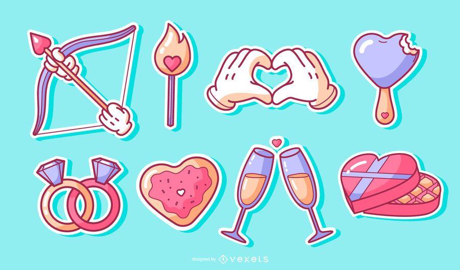 Conjunto de adesivos de elementos para namorados
