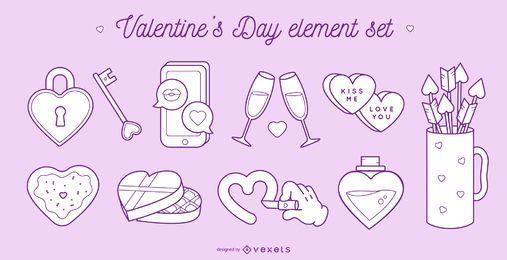 Conjunto de elementos de dia dos namorados