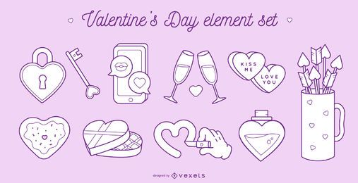 Valentine's day elements set