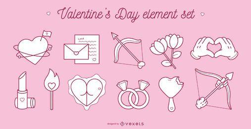 Conjunto de elementos de San Valentín