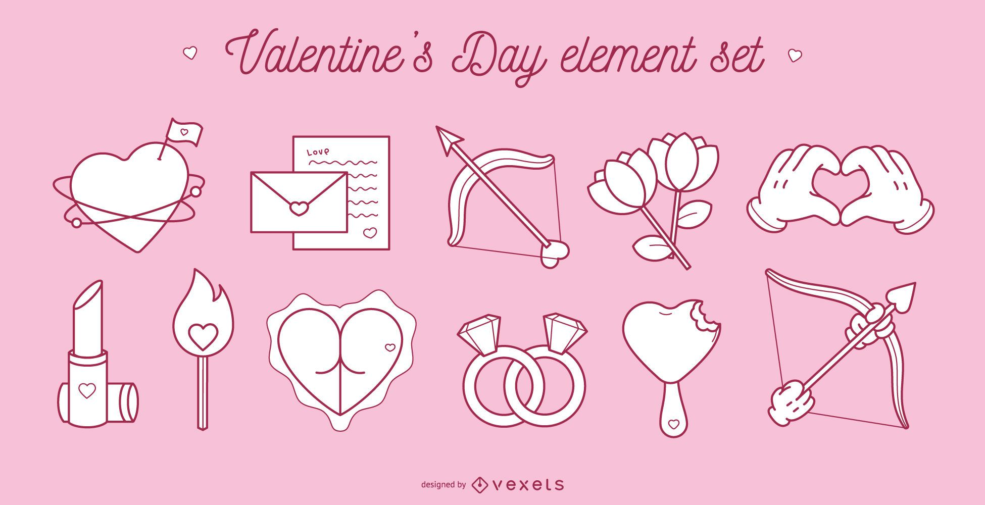 Valentine's day element set