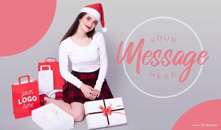 Design de maquete de modelo de Natal
