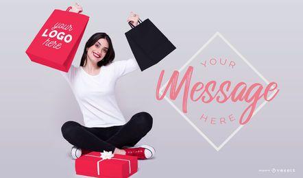 Model shopping bags mockup psd