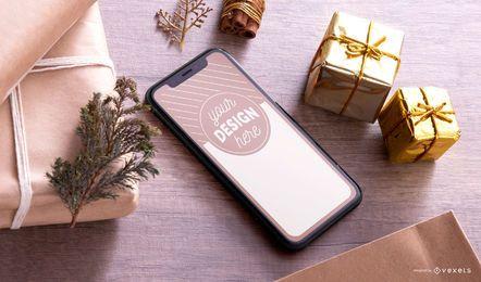 Maquete de smartphone de natal psd