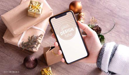 Maqueta de Navidad de smartphone