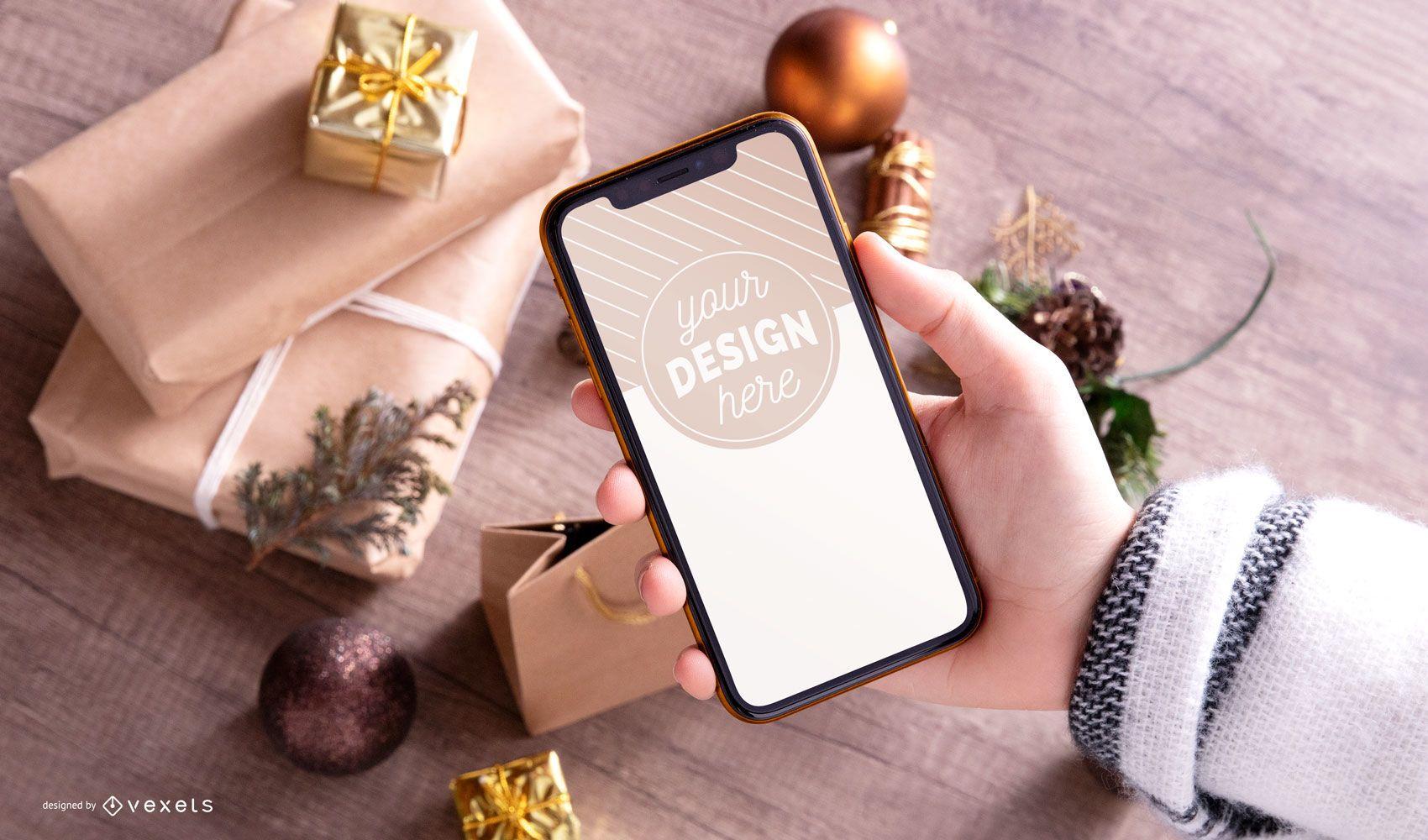 Smartphone Christmas mockup