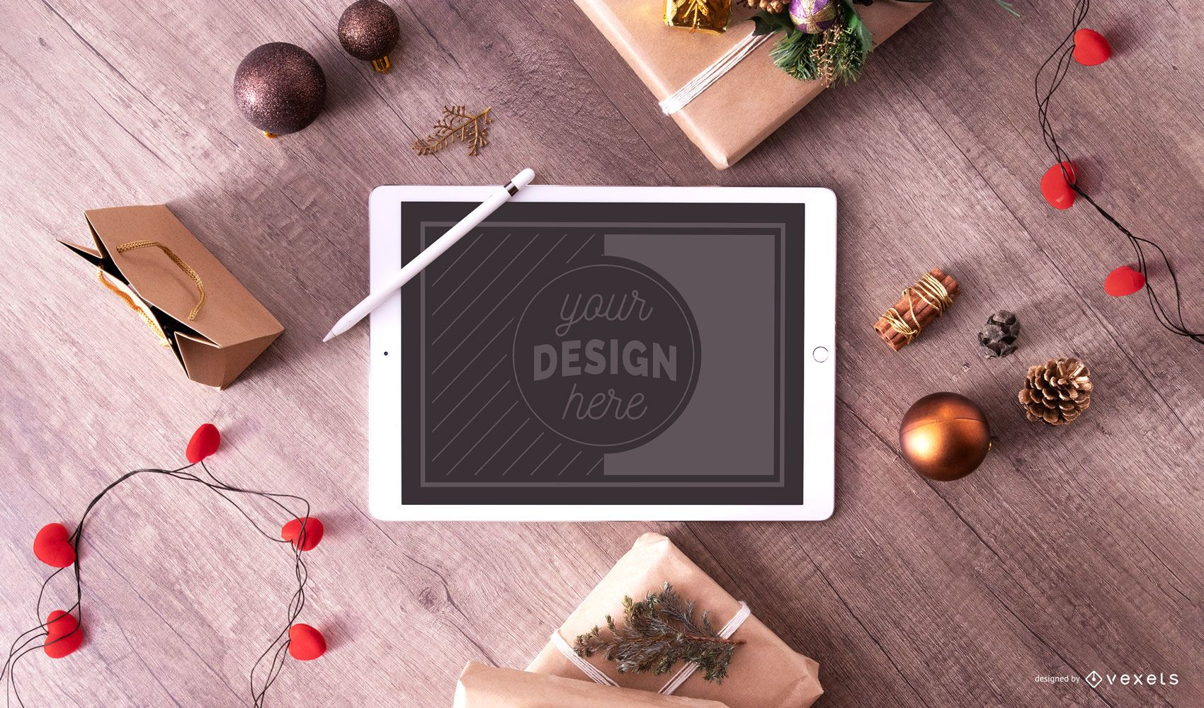 Composición de maqueta de ipad de navidad psd
